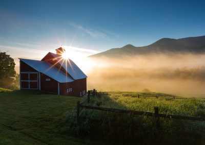 spring sunrise and barn Vermont